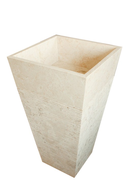 Umywalka kamienna stojąca LUVUS WHITE BIG