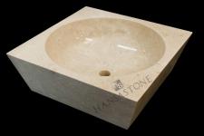 Umywalka kamienna nablatowa BURU WHITE
